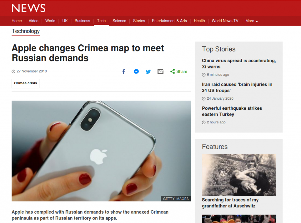 Apple changes Crimea map to meet Russian demands